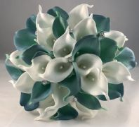 WEDDING FLOWERS ARTIFICIAL CALLA LILY BRIDE BOUQUET WHITE TEAL AQUA GREEN